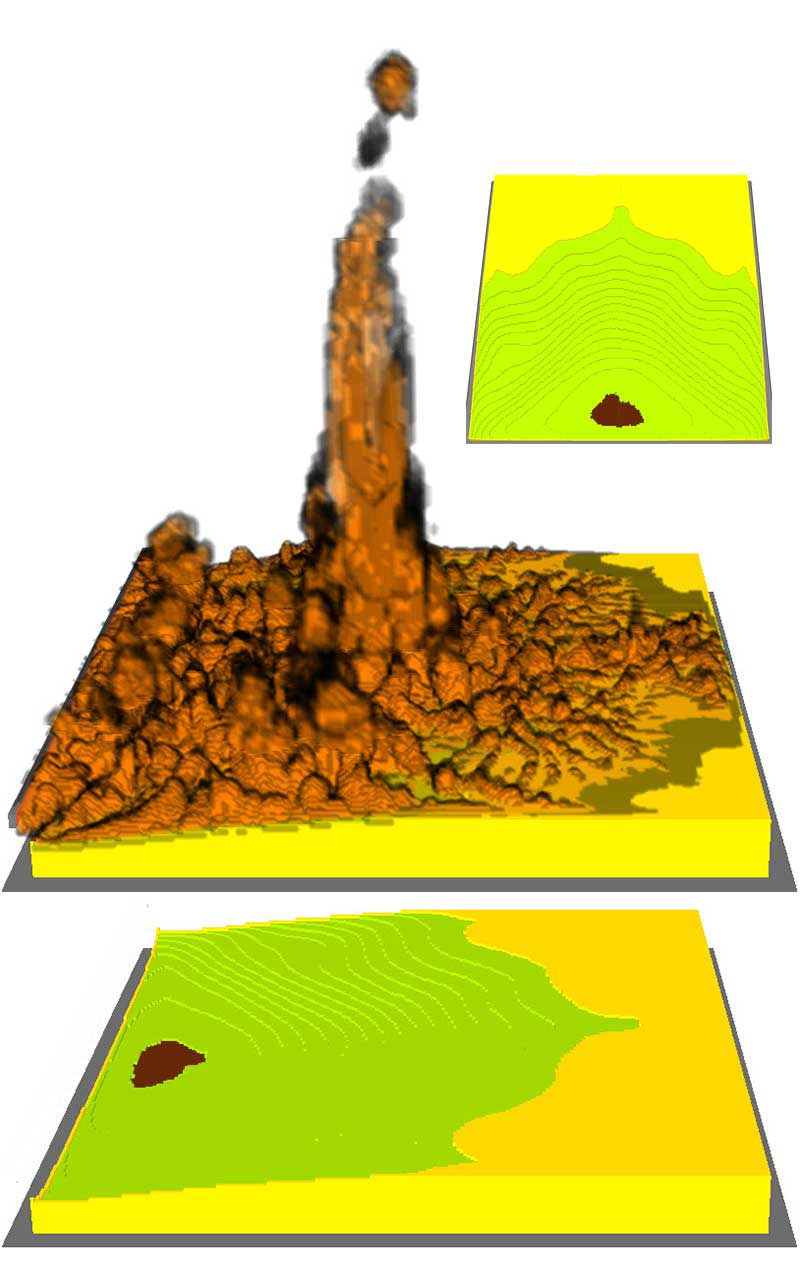 Figure 7. Oblique views of contour lines of PUF decomposition at start of Polyol burn (top and bottom images, Polyol surface area under combustion colored brown). Middle image: oblique view of burn at the same time index approx. 120 seconds), but with flame fronts added