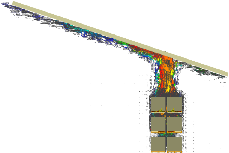 Figure 1. Heat Flow Simulation of Cartoned Unexpanded Plastics in Rack Storage Under Sloped Ceiling of 18 Degrees